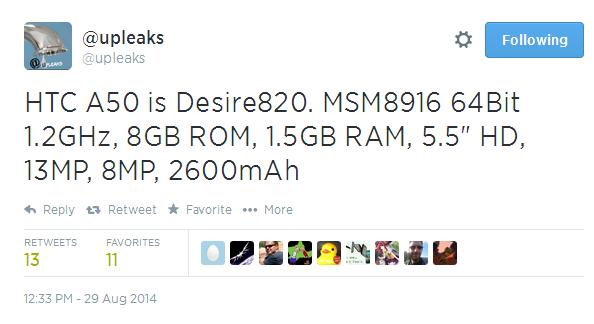 Noi detalii despre telefonul 64 bit HTC Desire 820 apar, plus informații despre 2 smartwatchuri HTC