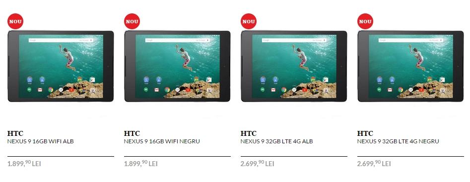 Tableta HTC Nexus 9 disponibilă la pre-comandă prin QuickMobile.ro; prețuri Începând de la 1.899 lei
