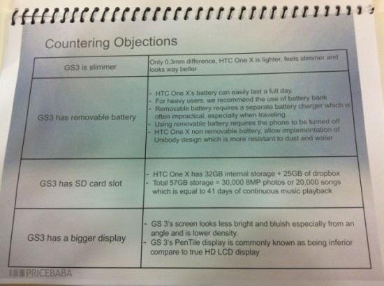 Ghid pentru echipa de vÎnzări HTC, care arată de ce ar trebui ales HTC One X În defavoarea lui Samsung Galaxy S III
