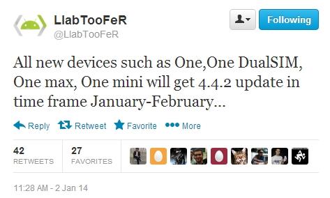 Varianta internațională a lui HTC One va primi update-ul Android 4.4.2 până la sfârșitul lunii februarie