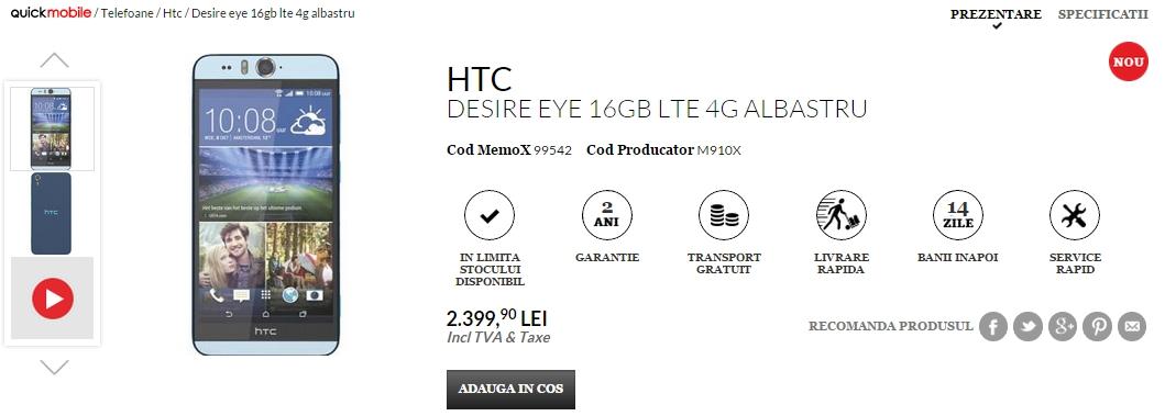 HTC Desire Eye, telefonul cu senzor frontal de 13 megapixeli și bliț dual sosește la QuickMobile.ro