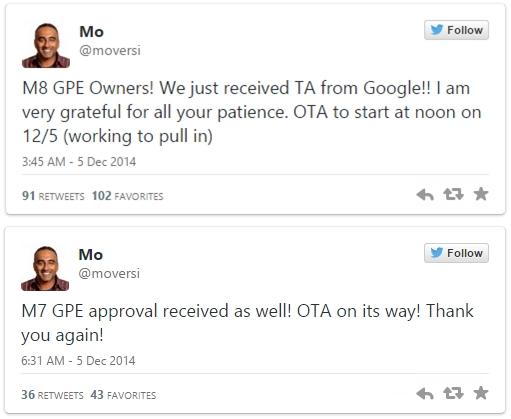 HTC One (M7) și One (M8) În edițiile Google Play vor primi astăzi actualizarea la Android 5.0 Lollipop