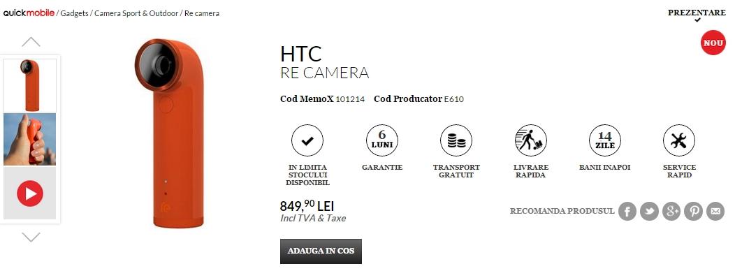 HTC RE, camera video de buzunar este disponibilă acum prin QuickMobile