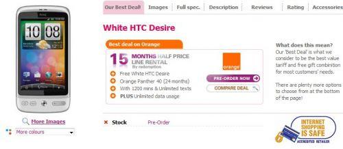 HTC Wildifire in varianta argintie; HTC Desire in alb, de dragul varietatii...