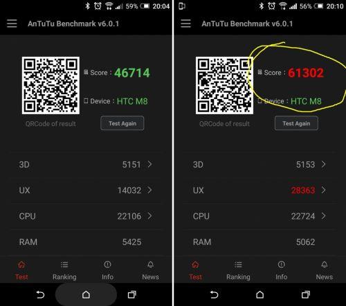 HTC One M8, rezultate AnTuTu dupa update la Android 6.0 Marshmallow
