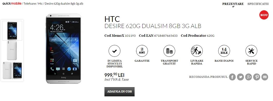 HTC Desire 620G Dual-SIM disponibil prin QuickMobile.ro la un preț de 999 lei
