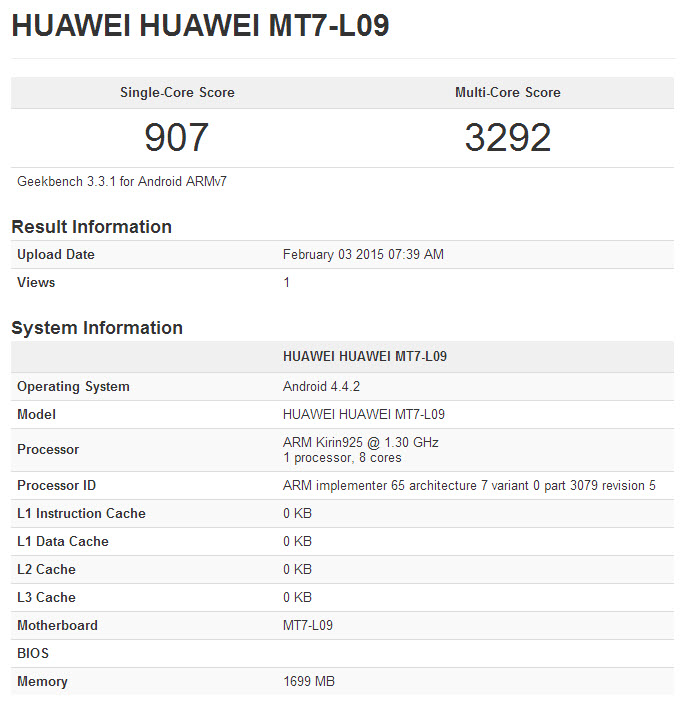 Un misterios telefon high end Huawei apare În GeekBench 3, cu un nou procesor HiSilicon Kirin; Să fie Huawei P8?
