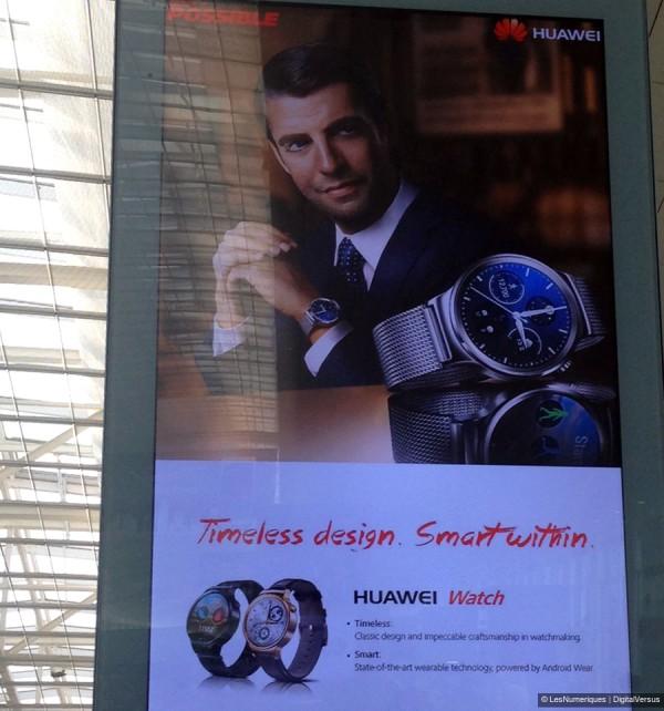 Huawei Watch îşi face apariţia pe panouri promoţionale în Barcelona, un nou smartwatch gata de lansare la MWC 2015