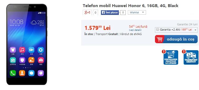 Huawei Honor 6 disponibil prin eMAG la prețul de 1.579 lei