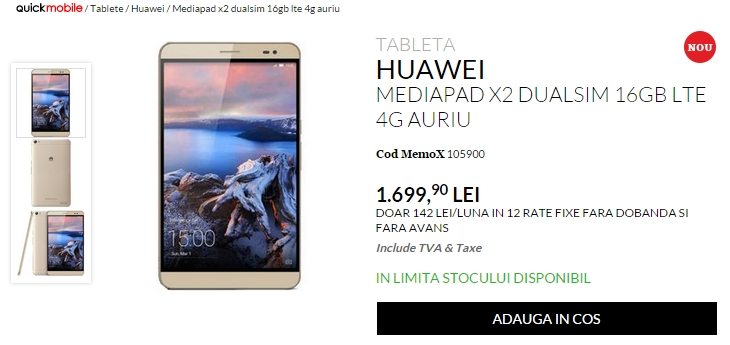QuickMobile.ro aduce în ofertă mega-telefonul Huawei MediaPad X2; device cu display FHD de 7 inch și specificații high-end