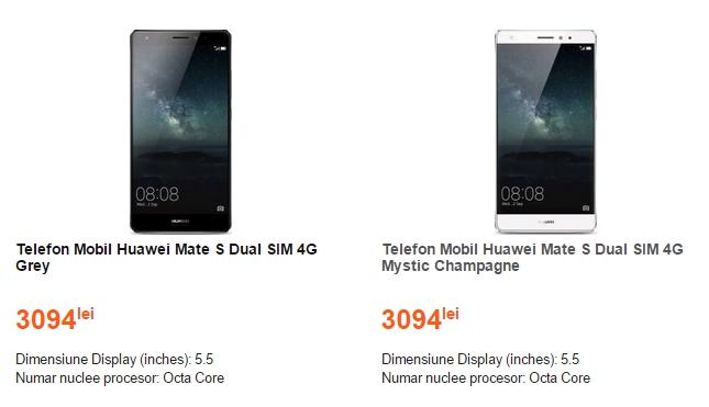 Pret Huawei Mate S