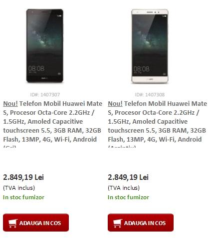 Huawei Mate S sosește și în stocul evoMAG.ro; costă 2.849 lei în varianta cu 32 GB de stocare