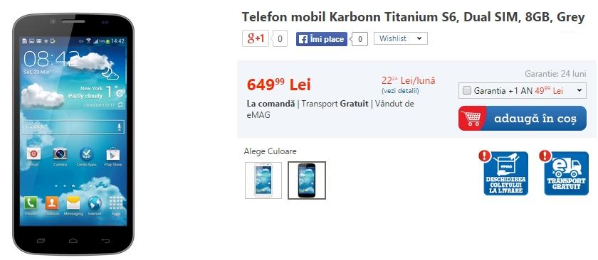 Karbonn Titanium S6 disponibil În stocurile eMAG la un preț de 649 lei