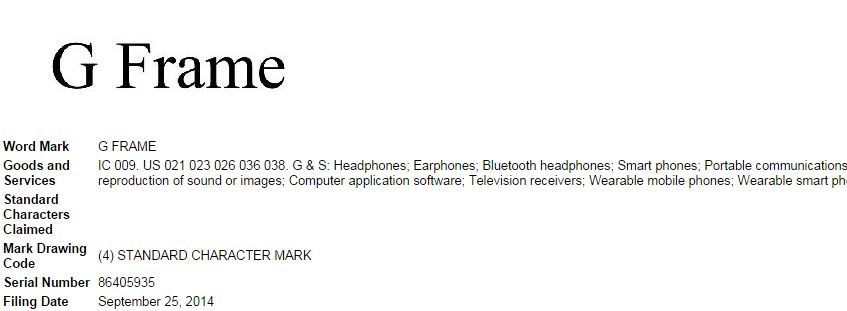 LG primește trademarkul pentru o serie de noi denumiri de telefoane: G Flex Frame, G Frame și F Frame