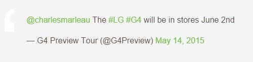 LG G4 ar putea debuta pe 2 iunie, conform unui tweet şters între timp