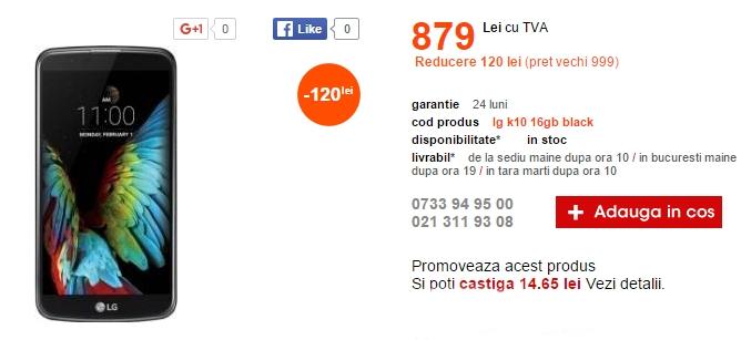 Cel.ro aduce în ofertă și smartphone-ul LG K10; terminal cu display de 5.3 inch și preț de 879 lei