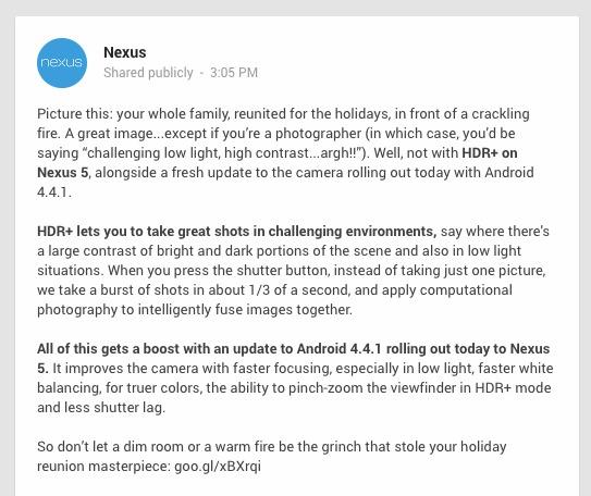 Actualizarea Android 4.4.1 disponibilă acum pe Nexus 5, rezolva unele din problemele camerei