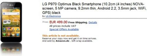 LG Optimus 2X și Optimus Black apar pe Amazon cu prețul de 499 euro; nu sunt disponibile Încă!