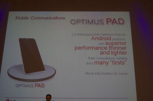 LG Optimus Pad, tabletul rival cu Samsung Galaxy Tab, anuntat la Bruxelles