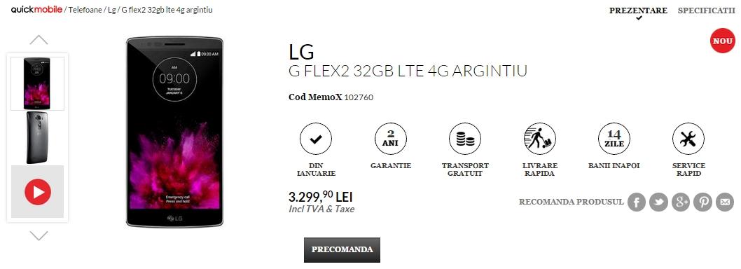 LG G Flex 2 disponibil la pre-comandă prin QuickMobile.ro; costă 3.299 lei