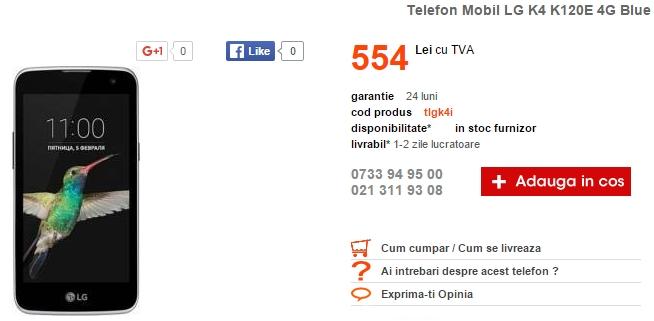 Smartphone-ul LG K4 este acum disponibil în oferta celor de la Cel.ro; costă doar 554 lei