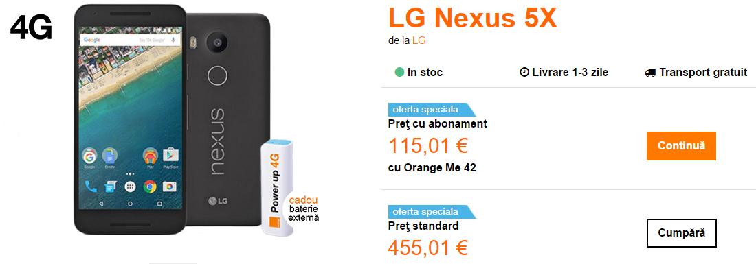 LG Nexus 5X disponibil de azi în oferta Orange România; costă 2.022 lei fără abonament