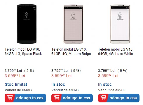 LG V10, smartphone-ul cu 4 GB RAM și display secundar, acum și în stocul eMAG.ro