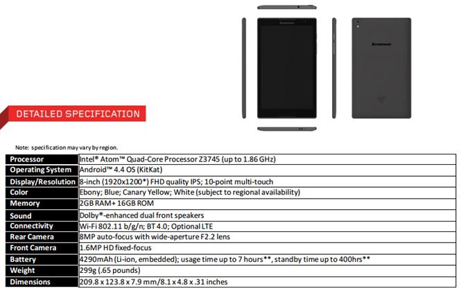 IFA 2014: Lenovo anunța tableta Tab S8, cu ecran Full HD de 8 inch, preț de 199 dolari