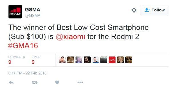 MWC 2016: Xiaomi Redmi 2 primeşte premiul GSMA pentru cel mai bun telefon sub 100 de dolari