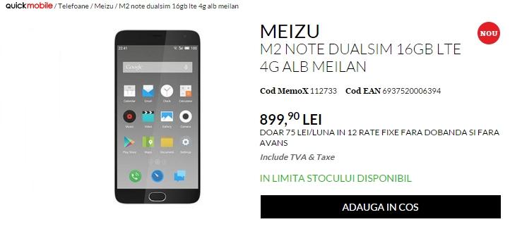 Meizu M2 Note ajunge în România prin intermediul QuickMobile; telefonul costă 899 lei