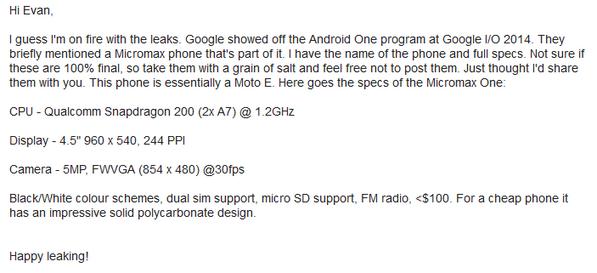 Iată cum sună specificațiile unui telefon Micromax cu Android One