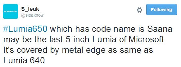 Microsoft Lumia 650 îşi face apariţia într-o randare pe web, ar fi modelul cunoscut în trecut şi drept Saana
