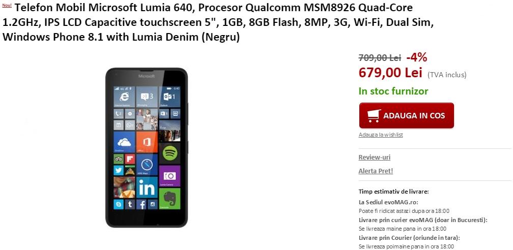 Pret Lumia 640