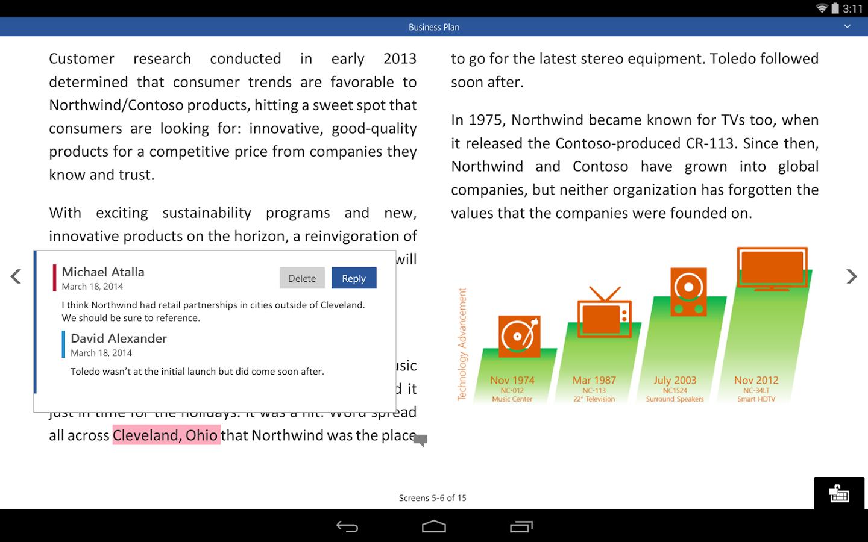 Microsoft Office versiunea preview pentru tabletele Android disponibilă acum pentru publicul larg
