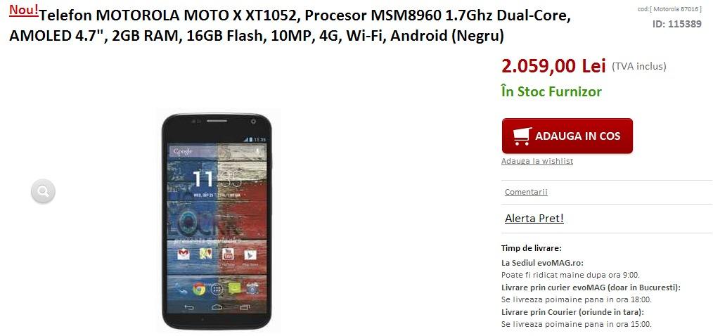 Motorola Moto X ajunge În România prin intermediul evoMAG.ro la un preț de 2.059 lei!