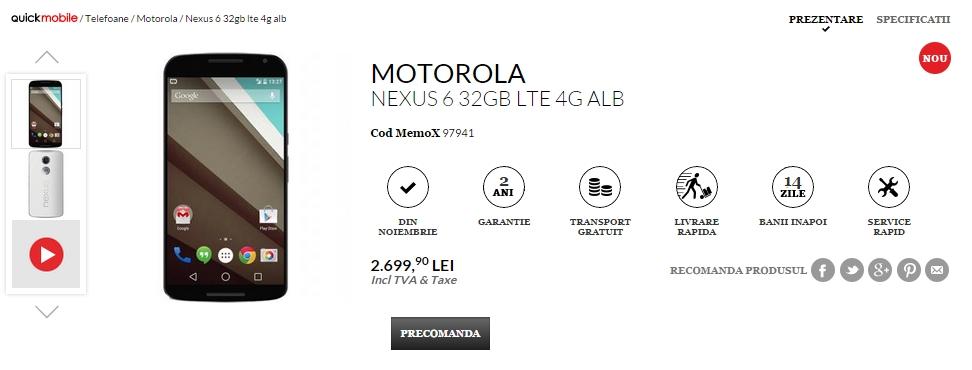 Pret Motorola Nexus 6 in Romania