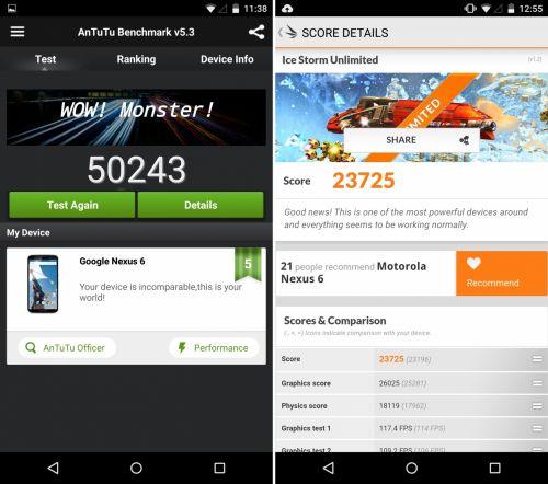 Motorola Nexus 6 benchmarks