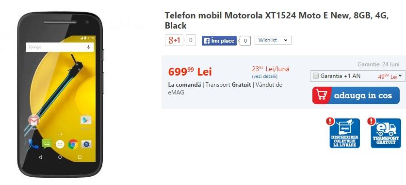 Motorola Moto E 2015 disponibil acum la precomandă prin intermediul eMAG.ro