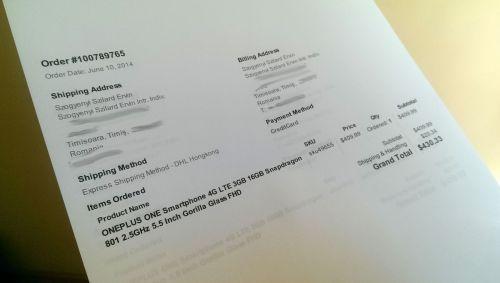 Telefonul OnePlus One poate fi comandat din România, la prețul de 1.330 lei plus vamă; Am făcut comandă!