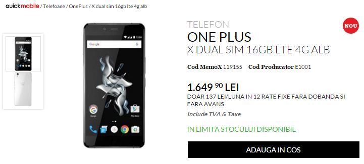 OnePlus X, de astăzi în stocurile QuickMobile.ro; iată cât costă versiunea de 16 GB