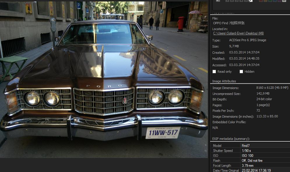EXIF fotografie realizata cu Oppo Find 7