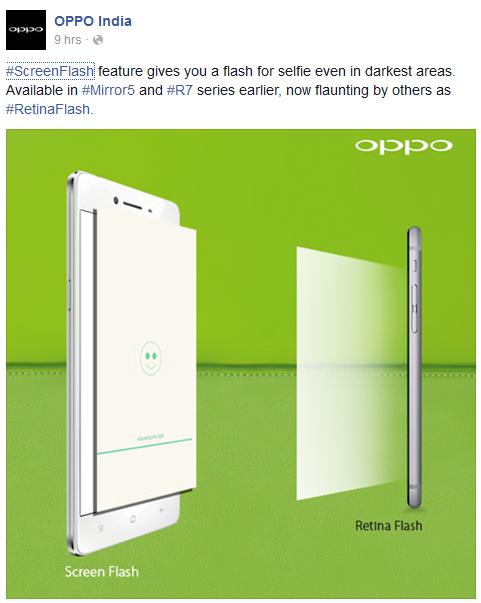 Oppo afirmă că ideea de utilizare a ecranului ca blitz pentru camera frontală nu a fost inventată de Apple, ci folosită de Oppo înainte