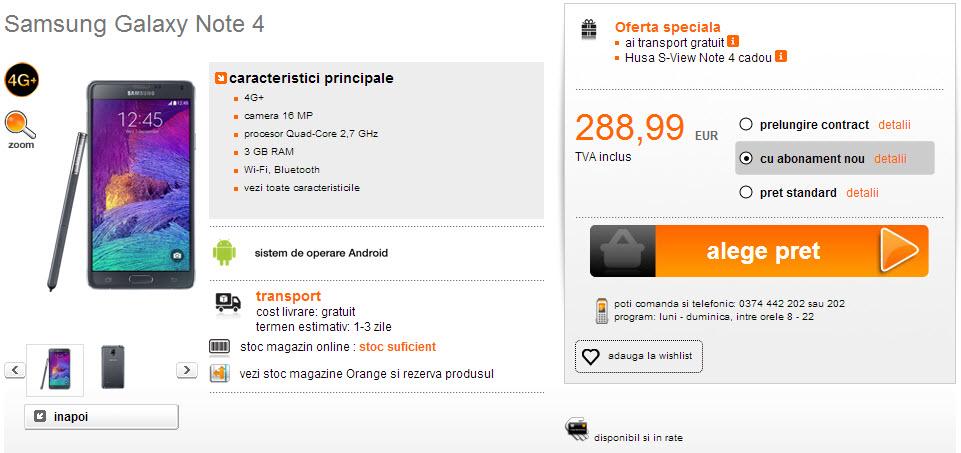 Samsung Galaxy Note 4 apare În stocul magazinului online Orange România; Iată prețul său!