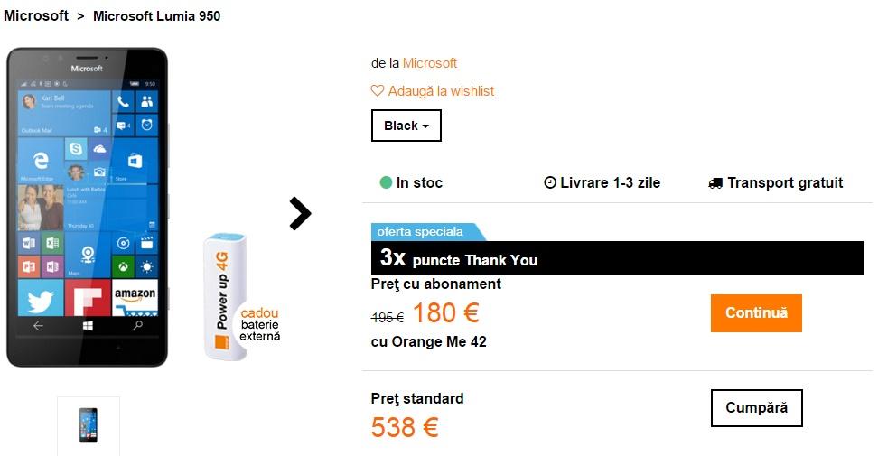 Microsoft Lumia 950 acum și în oferta Orange România; costă 2.400 lei fără abonament