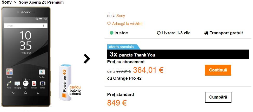 Sony Xperia Z5 Premium poate fi comandat și prin intermediul Orange; costă 3.815 lei fără abonament
