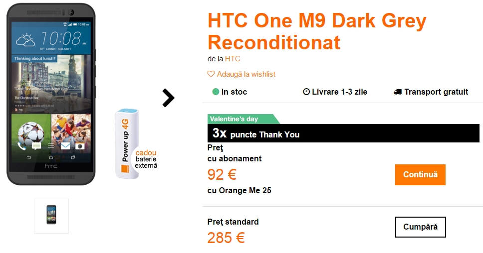 HTC One M9 în varianta recondiționată costă doar 1.270 lei prin intermediul operatorului Orange