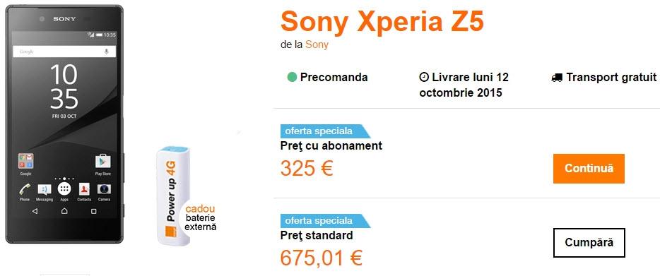 Orange România listează la pre-comandă noul Xperia Z5; acesta costă 2.980 lei fără abonament