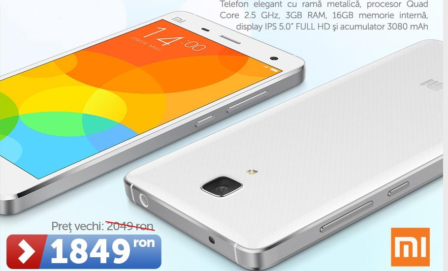 Xiaomi comercializate de către MarketOnline, mai regăsim și modelul Mi4