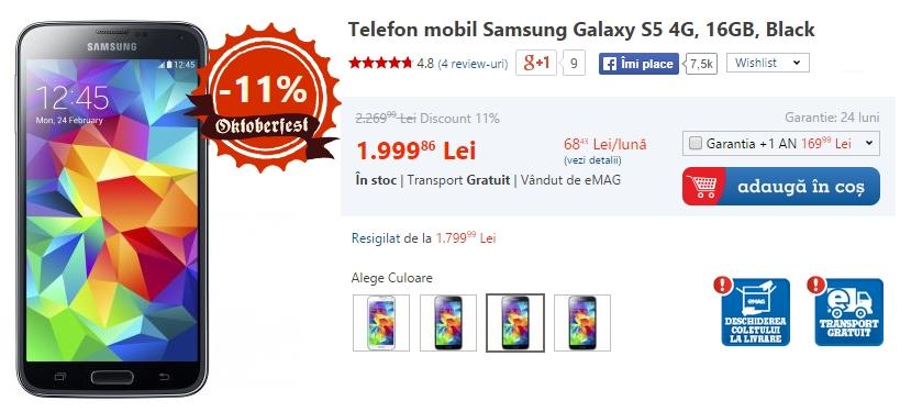 Samsung Galaxy S5 la reducere (eMAG)