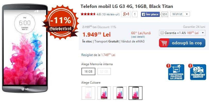 LG G3 la reducere (eMAG)